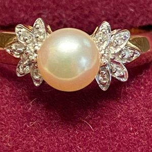 Zales 10K Gold Pearl Ring by Samuel Aaron